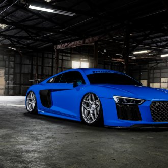 Carbon Fiber Front Lip on Blue Audi R8 - Photo by Rohana Wheels