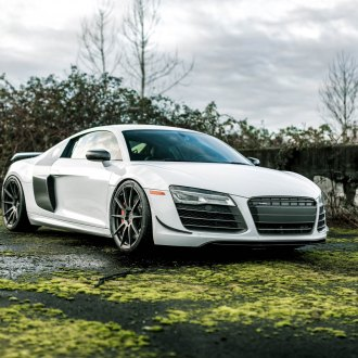 White Audi R8 with Custom Front Bumper - Photo by Brixton Forged Wheels