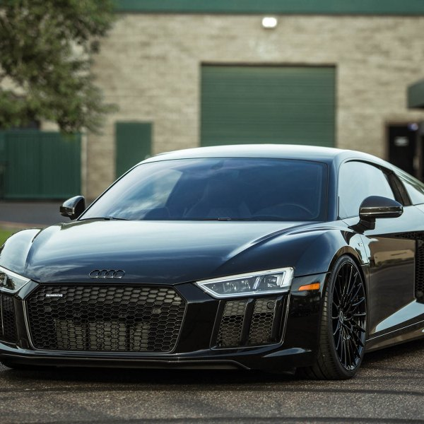 Black Audi R8 with Custom Mesh Grille - Photo by Brixton Forged Wheels