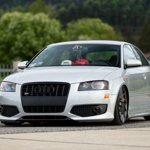 White Audi S3 With Custom Black Front Bumper