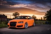 Hot Transformation of Orange Audi S3 with Blacked Out Mesh Grille