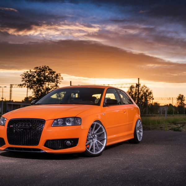 Orange Audi S3 with Blacked Out Mesh Grille - Photo by JR Wheels