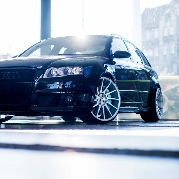 Front Bumper with Fog Lights on Black Audi S4 - Photo by JR Wheels