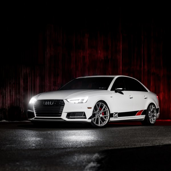 White Audi S4 with Custom DRL-Bar Headlights - Photo by Vossen