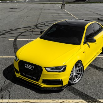 Blacked Out Mesh Grille on Yellow Audi S4 - Photo by Rohana Wheels