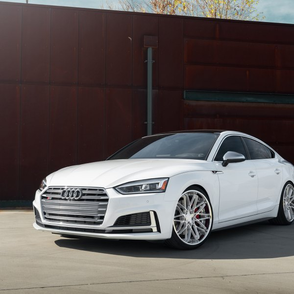 White Audi S5 with Aftermarket Headlights - Photo by Avant Garde Wheels