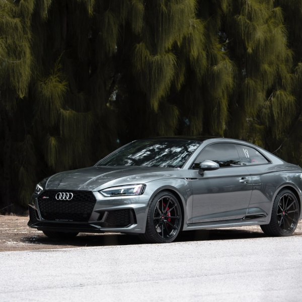 Gray Audi S5 Quattro with Blacked Out Mesh Grille - Photo by Vossen