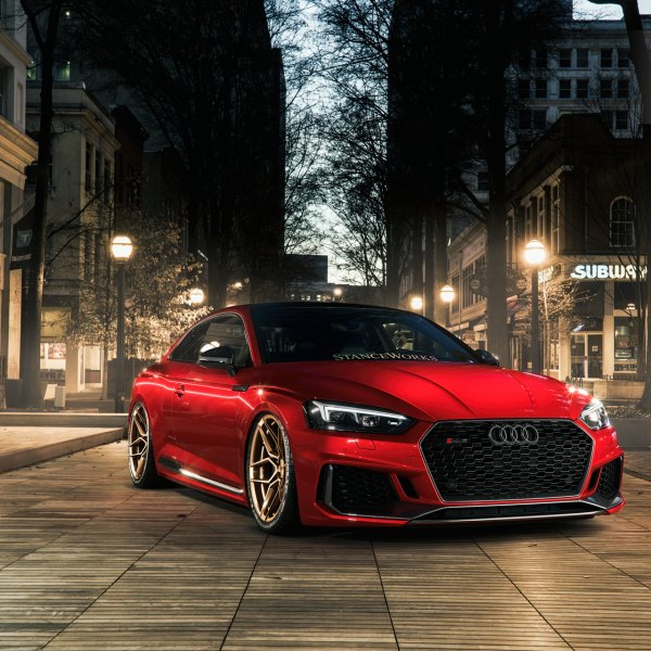 Red Audi S5 with Blacked Out Mesh Grille - Photo by Rohana Wheels