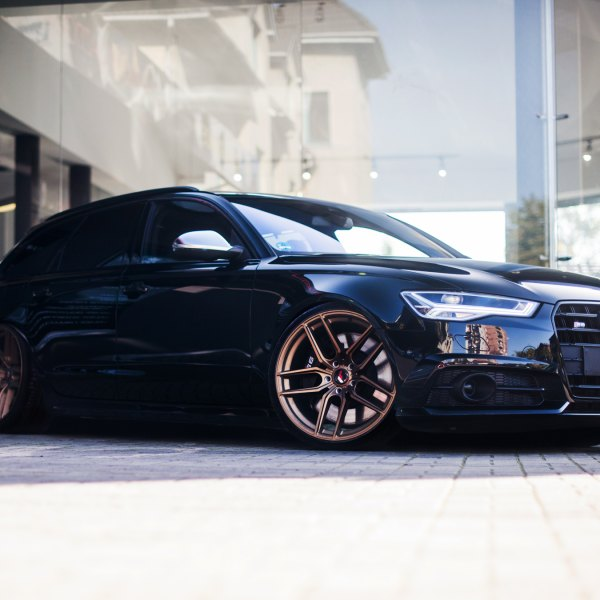 Black Audi S6 with Aftermarket Headlights - Photo by JR Wheels