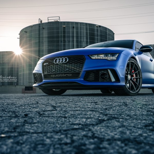 Blacked Out Mesh Grille on Matte Blue Audi S7 - Photo by Brixton Forged Wheels