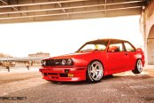 Red BMW 3-Series Sporting Chrome Rennen Wheels
