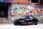 Candy Red JR Wheels Giving Black BMW 3-Series a New Feel
