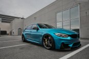 Sensational Blue Paint on BMW 3-Series Fitted with Gloss Black Brixton Forged Wheels