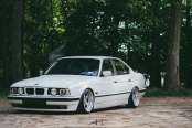 Lowered and Awesome White BMW 5-Series with Aftermarket Parts