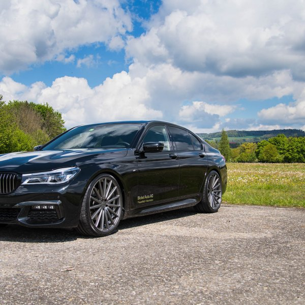 Lowered Black BMW 7 Series With Custom Bumper Grille