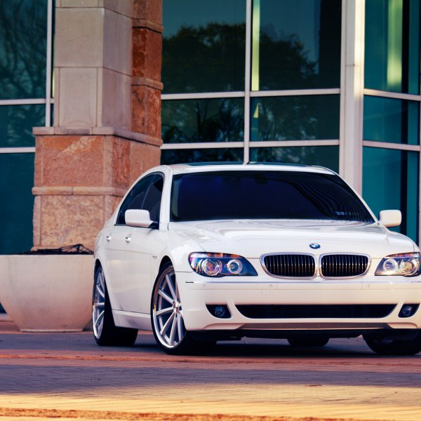 White BMW 7 Series With Chrome Grille