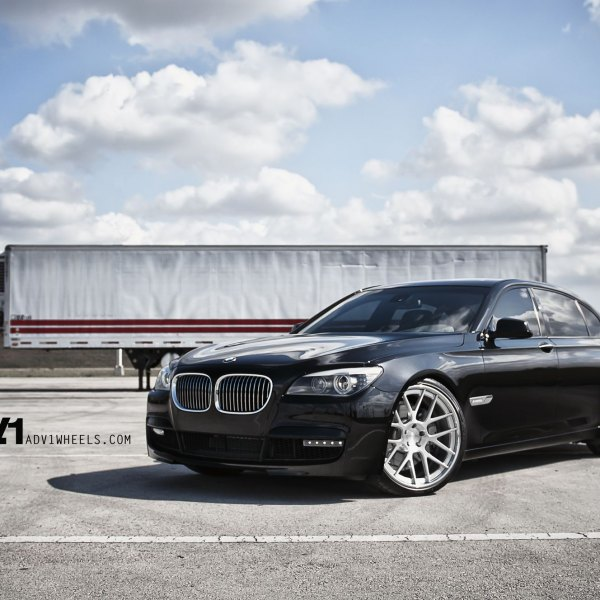 Gloss Black BMW 7 Series With Custom Front Bumper