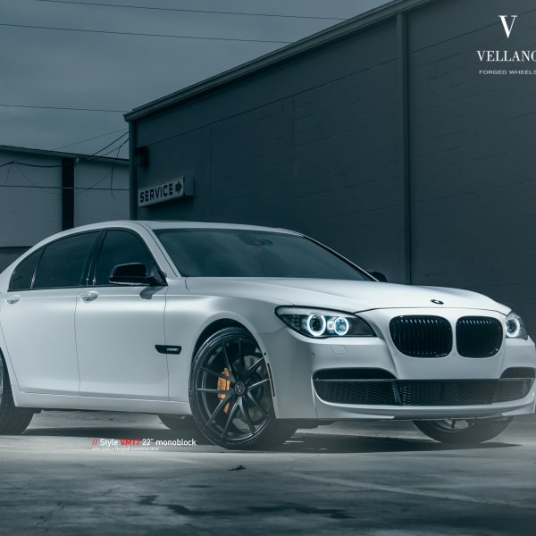 Aftermarket Halo Headlights On White BMW 7 Series