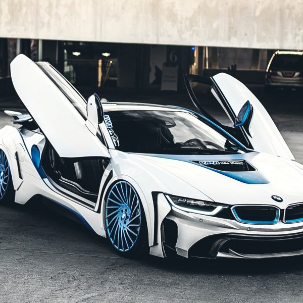 Custom White BMW I8 With Blue Accents