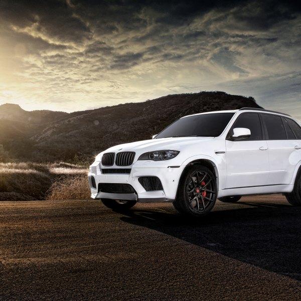 Dark Smoke Headlights On White BMW X5