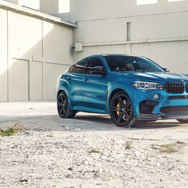 Blue BMW X6 With Custom Halo Headlights