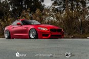 Satin Red Chrome BMW Z4 with Custom Parts Living a Low Life