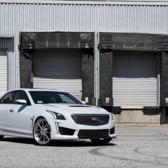 Gray Cadillac CTS with Blacked Out Mesh Grille - Photo by Forgiato
