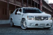 Snow White Chevy Avalanche on Lexani Chrome Wheels