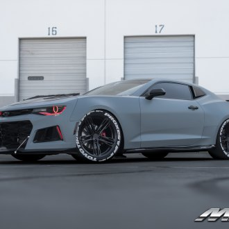 Matte Gray Chevy Camaro Goes Sinister with Custom Red Halo Headlights