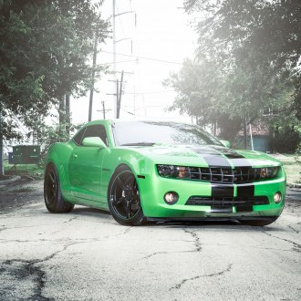 Green with Envy Chevy Camaro on Gloss Black Vossen Wheels