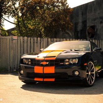 Race Look of Custom Black Chevy Camaro SS with Orange Stripes