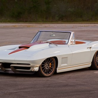 Less is More: Custom White Convertible Chevy Corvette with Orange Stripes