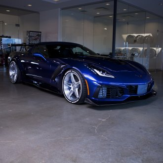 Imposing Blue Corvette ZR1 on Chrome PUR Wheels Wrapped in Michelin Tires