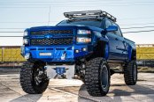 Electric Blue Silverado HD with Fully Custom Suspension and Large Tires