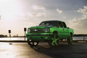 Lifted Envy Green Silverado on a Set of Custom Wheels