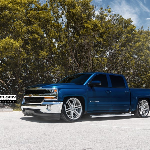 Blue Chevy Silverado With Chrome Front Per Cover Photo By Velgen