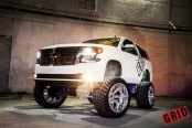 Truck Queen White Chevy Tahoe on Fox Suspension Lift Kit