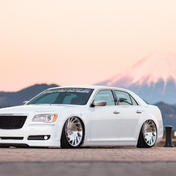 Lowered White Chrysler 300 with Custom Front Bumper Cover - Photo by Vossen