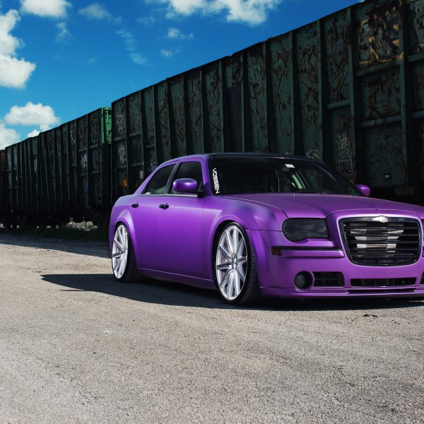 Custom Purple Matte Chrysler 300 with Blacked Out Grille - Photo by Vossen