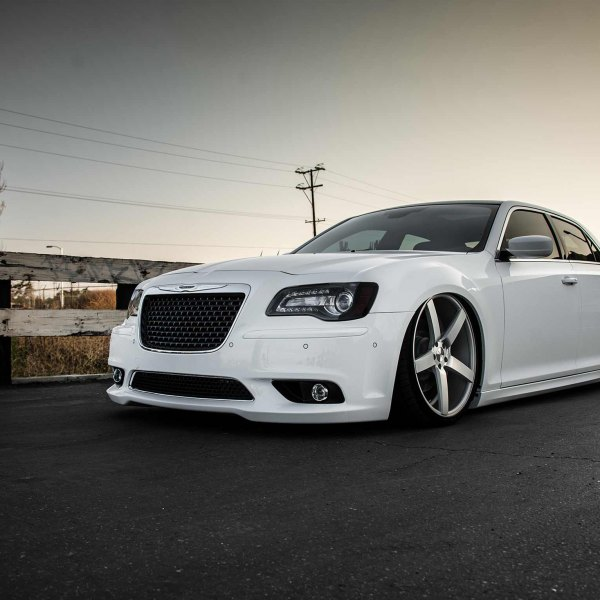 White Lowered Chrysler 300 with Custom Grille - Photo by Vossen