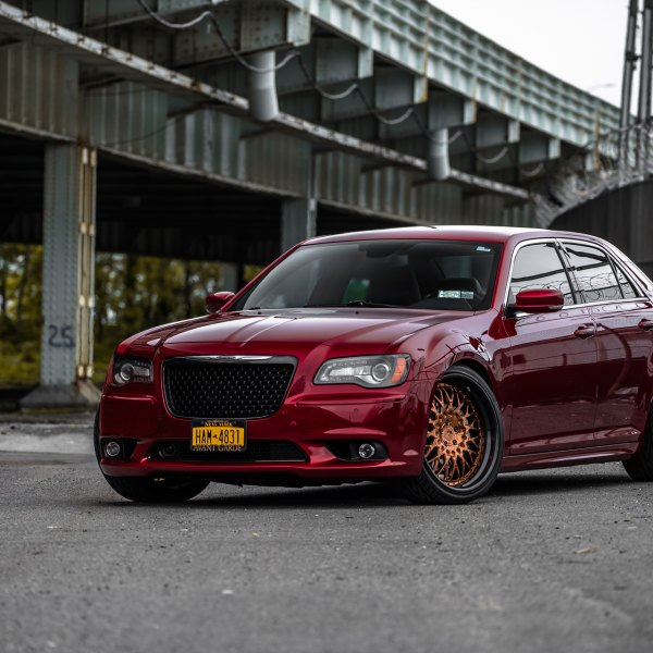 Custom Red Chrysler 300 with LED Headlights - Photo by Avant Garde Wheels
