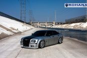 Stunning Custom Silver Debadged Chrysler 300 Dropped and Boasting Black Hood