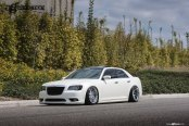 White Stanced Chrysler 300 Wearing Polished Avant Garde Wheels