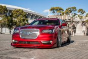 Red Chrysler 300 Living the Lowered Life and Sitting on Forged Rims