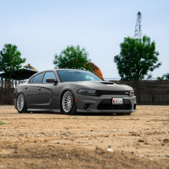 Gray Dodge Charger with Dark Smoke Headlights - Photo by Avant Garde Wheels