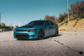 Turquoise Dodge Charger Gets a Distinct Look with Black Accents and Blaque Diamond Wheels