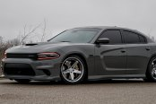 Stylish and Sinister: Gray Dodge Charger Sitting on Gunmetal Rims by Blaque Diamond