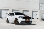 White Dodge Durango Outfitted with Bronze Strips and Bronze Velgen Rims