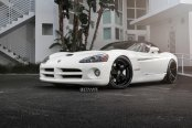 White Dodge Viper Looking Good on Contrasting Matte Black Strasse Wheels