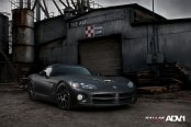 Sinister Matte Black Dodge Viper With a Low Stance and ADV1 Rims